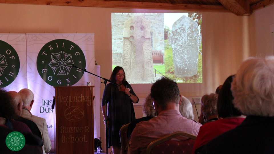 Michelle Brown discussing early medieval manuscript culture at The Lands Of Eogain Festival ~ Inishowen