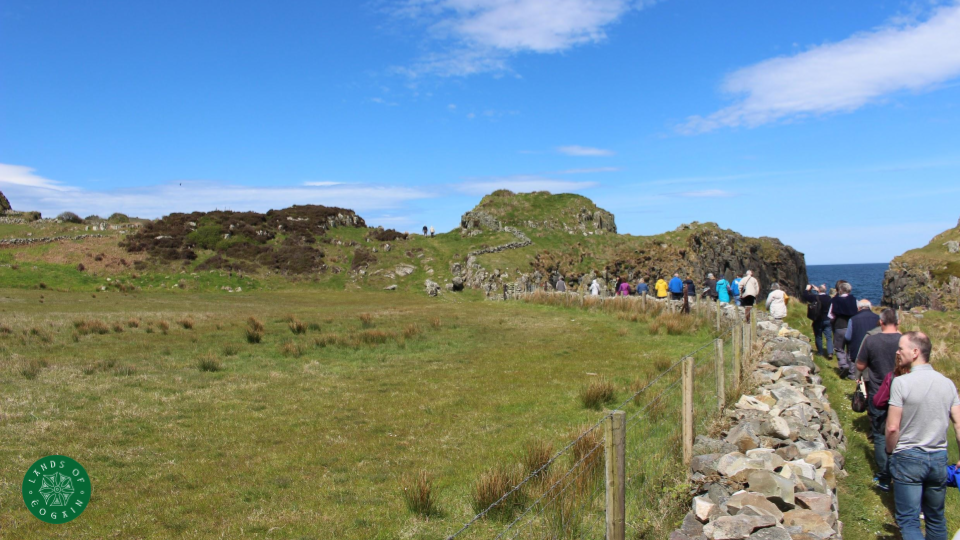 Excited crowd on route to Dunowen Promontory Fort, Culdaff, Inishowen