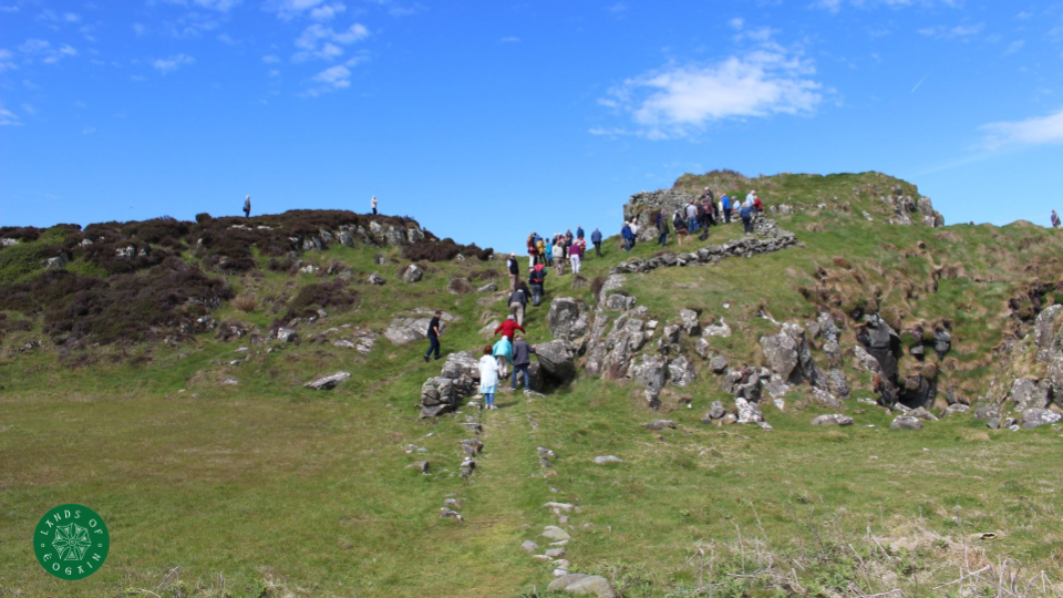 Group climbing to site of Dunowen Fort ~ Lands Of Eogain, Inishowen, Donegal