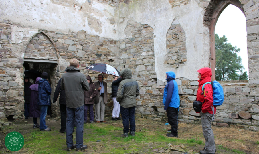 Discussing ancient Clonmany at St Columba's Church Straid ~ Lands Of Eogain Festival 2017